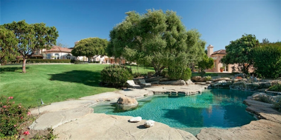 In-ground pool at estate in Hope Ranch